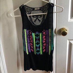 Black top with neon sequins M